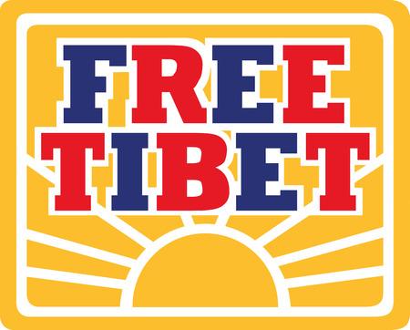 tibet: Free Tibet with flag