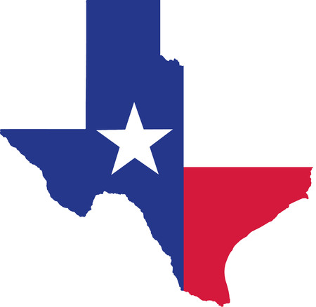 Texas state map with flag Illustration