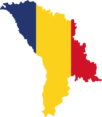 Moldova map with flag