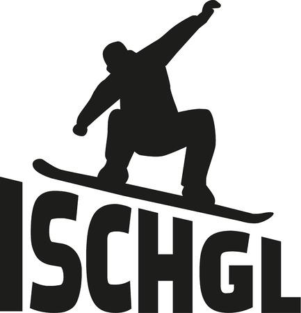 Ischgl snowboarder silhouette