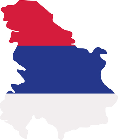 serbia: Serbia map with flag Illustration