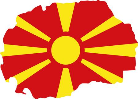 Macedonia map with flag Illustration