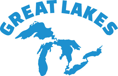 Great Lakes silhouette with name Illustration