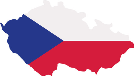 Czech Republic map with flag