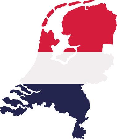 netherlands: Netherlands map with flag