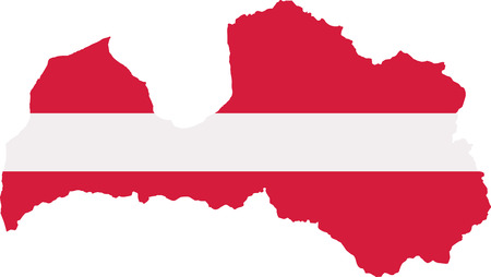 Latvia map with flag