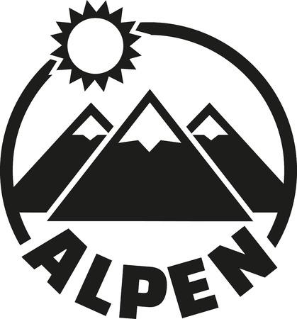 Alps button - german Illustration