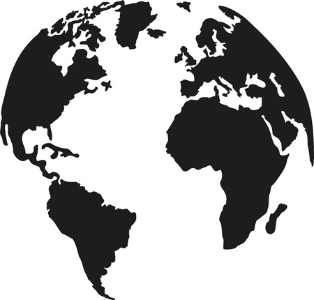 Globe planet earth with silhouette of the continents Ilustrace