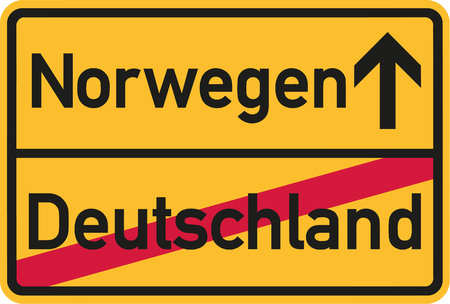 scandinavia: Migration from germany to Norway - german town sign