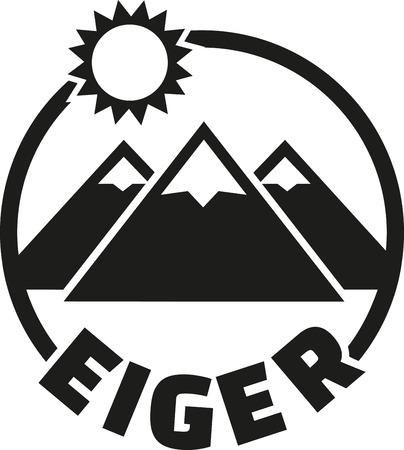 bernese: Eiger mountain button Illustration