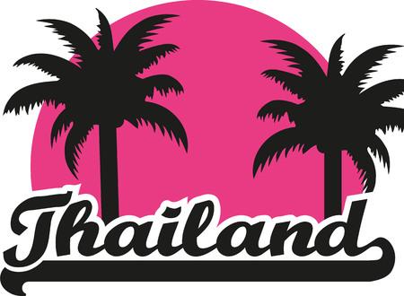 samui: Thailand with pink sun and palms Illustration