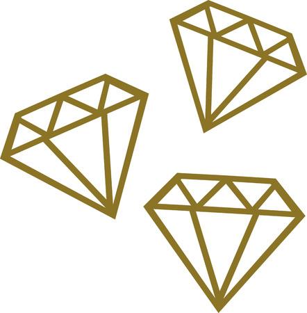 Three golden diamonds Illustration