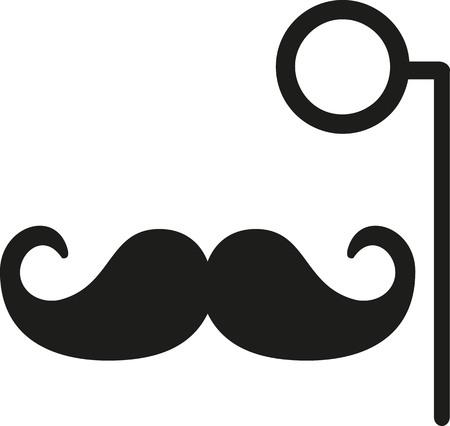 monocle: Mustache with monocle Illustration