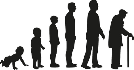Life cycle evolution - from baby to old man Ilustração