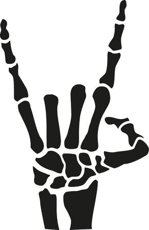 heavy metal: Heavy metal skeleton hand with bones