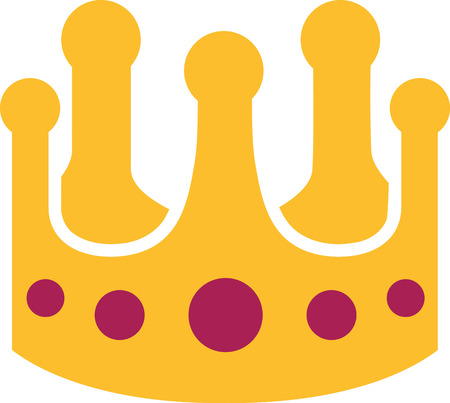 royal person: Yellow crown with violet stones