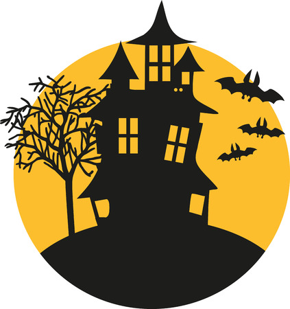 Halloween house with bats at night