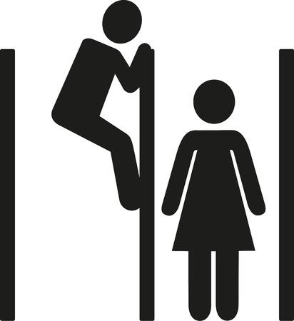 peephole: Voyeur - man spying over toilet cabine
