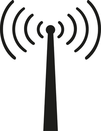 wireless tower: Reception tower with wireless signal Illustration