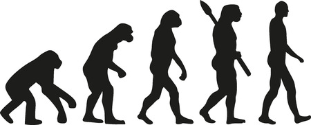 human evolution: Darwin evolution of human Illustration