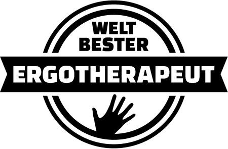 physiotherapist: Worlds best Occupational therapist. german button. Illustration