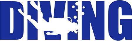 シルエットとスキューバ ダイビングの単語