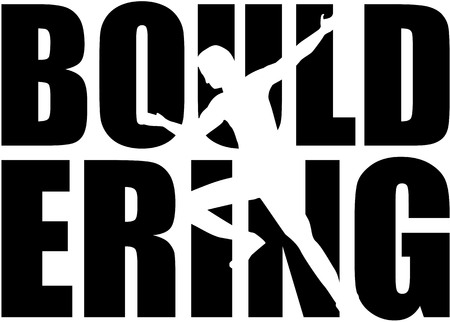 clambering: Bouldering word with cutout silhouette