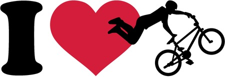 mountain silhouette: I love bmx ride silhouette
