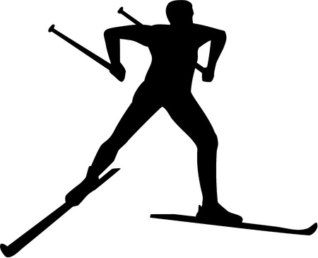 cross country: Cross country skier silhouette Illustration