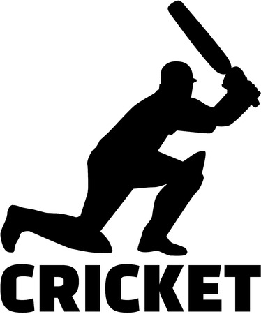 cricketer: Cricket player with word Illustration