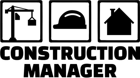 manager: Construction manager with icons Illustration