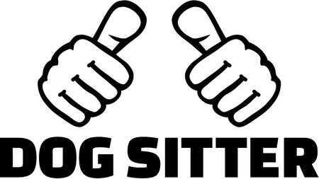 sitter: Dog sitter with thumbs. T-Shirt Design.