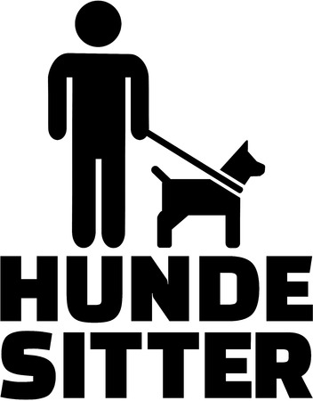 sitter: Dog sitter icon with german job title