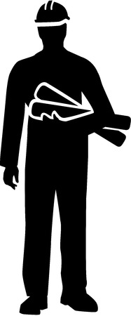 housebuilding: Construction manager silhouette with plans