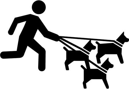 sitter: Dog sitter pictogram Illustration
