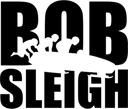 bobsleigh: Bobsleigh word with silhouette of bob team Illustration