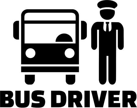 palabra conductor del autobús con pictograma