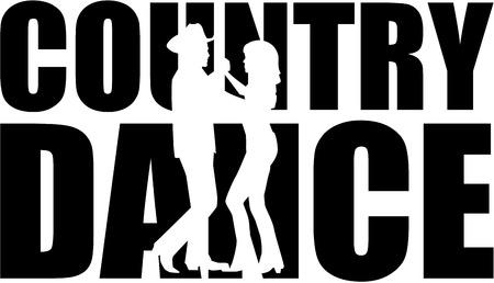 Country Dance Wort mit Ausschnitt Silhouette Vektorgrafik