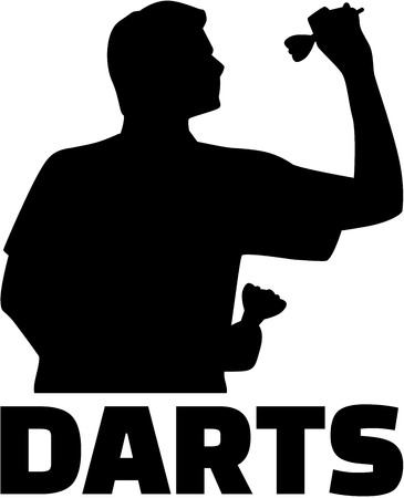 Darts player. Silhouette with word.