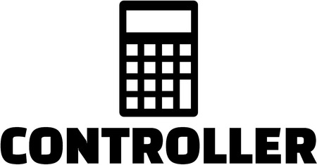 controlling: Controlling staff with calculator. German.