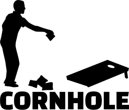 Cornhole game with silhouette and game name