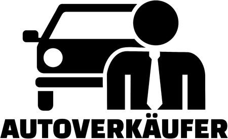salesman: Car Salesman. Pictogram with german job title. Illustration