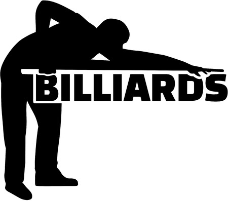 pool player: Silhouette pool player with billiards word