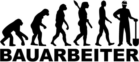 housebuilding: Construction worker evolution. German job title. Illustration