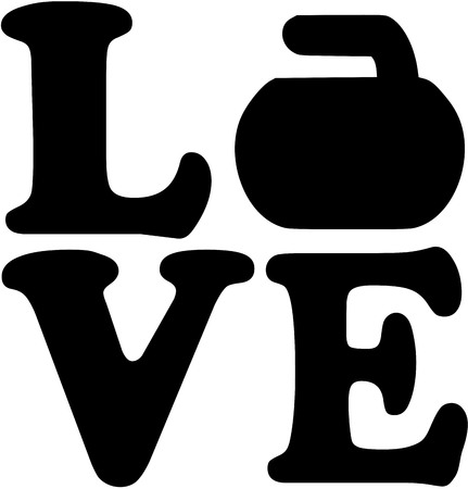 Love word with curling rock Illustration