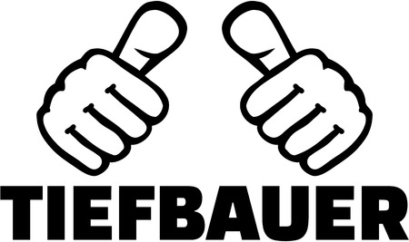 housebuilding: German job title. Construction worker with thumbs.