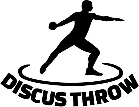 discus: Athlete throwing discus with word