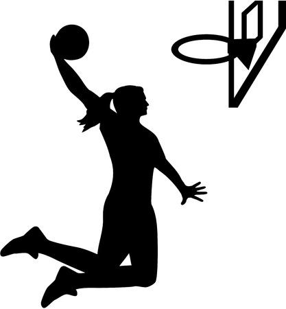 女性のバスケット ボール選手  イラスト・ベクター素材
