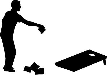 Man playing Cornhole game silhouette Vettoriali