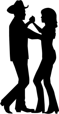 Country dancing couple silhouette Vectores